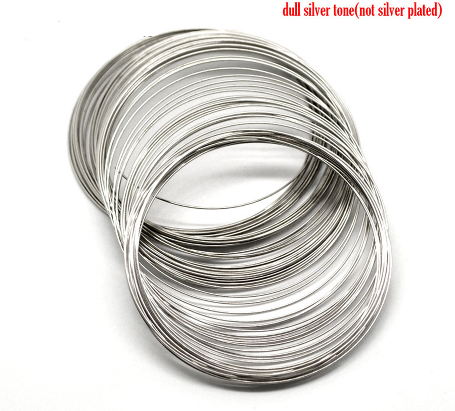 DoreenBeads Steel Wire Memory Beading Bracelets Components Round Silver Tone For DIY Jewelry Making 7cm-7.5cm Dia, 45 Loops