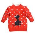 2017 primavera criança bebê camisola quente crianças meninas encantadoras dos desenhos animados cat pattern lace collar pullovers crianças doce tops outwear