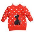 2017 primavera niño bebé suéter caliente niños niñas de dibujos animados encantadora cat patrón suéteres de cuello de encaje niños dulce tops outwear
