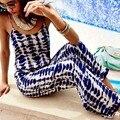 2016 Nova Verão Mulheres Playsuit Impressão Xadrez Estilingue Macacão Calças de Cintura Alta Macacões Rompers Womens Jumpsuit Ocasional