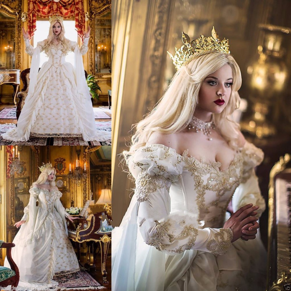 2017 Vintage Medieval Cinderella Bridal Gold Lace Wedding Dresses with 3 4  Sleeves Sexy V Neck Organza Ruffles Wedding Gowns b3504a05cd25
