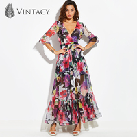 Vintacy Maxi Dress Sexy V Neck Floral Party Evening Long Dresses For Women Vintage Three Quarter