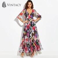 Vintacy Maxi Dress Sexy V Neck Floral Party Evening Long Dresses For Women Vintage Three Quarter