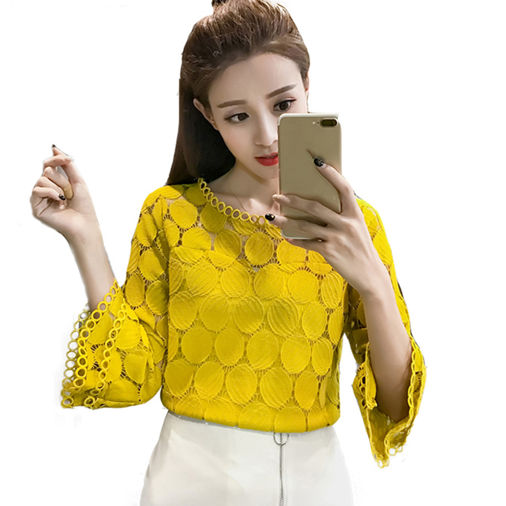 New 2018 Summer Korean Hollow Out Lace   Blouses     Shirts   Women Clothing Flare Sleeve O-Neck Slim Female Casual White Tops S-XXL