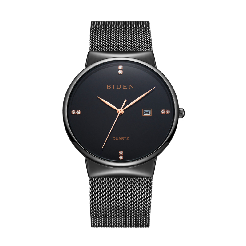 BIDEN Brand Men's watches simple dress quartz watch men steel mesh strap quartz-watch Ultra-thin ultra clock relogio masculino fashion watch brand men s watches dress quartz watch men steel mesh strap quartz watch ultra thin ultra clock relogio masculino