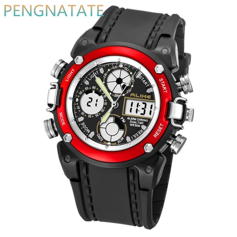 ALIKE Luxury Brand Men Sports Watch Digital LED Military Watch Waterproof Outdoor Casual Wristwatch Relogio Masculino