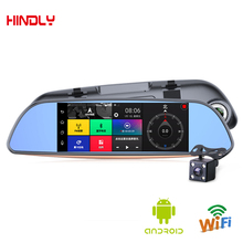 HOT 6.86″Touch RAM 1GB ROM 16GB 2 Split View Android GPS Navigation Mirror Car DVR Dual Lens Camera Rear Parking WiFi FM