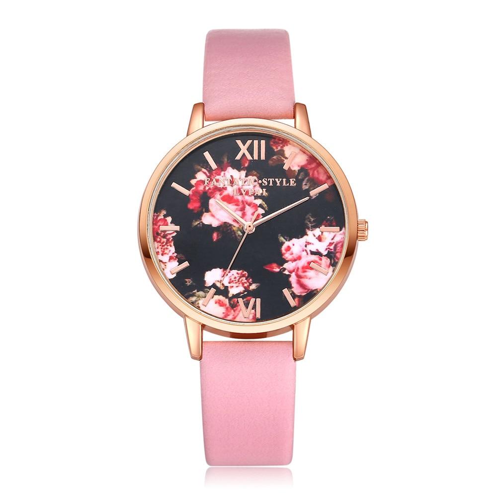 I Luxury Brand Famous Women Watches Beauty Flower Pattern Quartz Wristwatch Ladies Dress Rose Gold Dial Clock As Gift 2018 3#