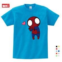 Novelty Fashion Boys Spiderman Ironman Captain America T shirt Summer Short Sleeve Superhero Tee Kids Cotton tshirt 3T-9T YUDIE