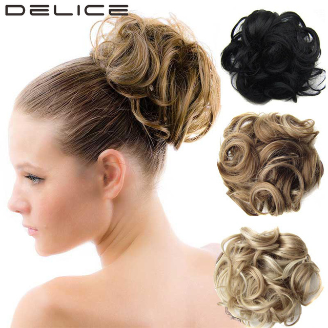 DELICE 60g Women Wave Curly Elastic Drawstring Clip In On Big Hair Bun Piece Updo Cover Chignon Synthetic Hair Extensions Q6 -2