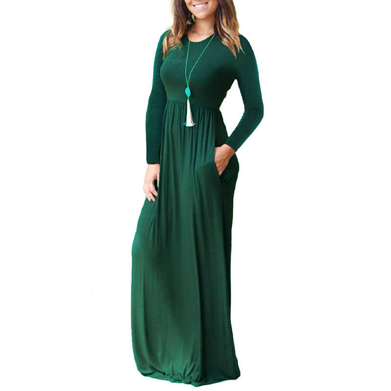 Spring Autumn Maternity Dress For Pregnant Women Clothes O-neck Solid Maxi Dress Pregnancy Vestidos Gravida Clothing Size S-2XL