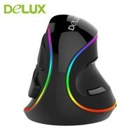 Delux M618 PLUS Optical Mouse Professional USB RGB Vertical Optical Mouse Mice Adjustable 1600 DPI Mouse