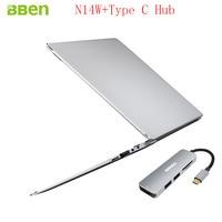 Bben 14 N14W Windows10 Intel Apollo N3450 CPU Silver/Pink Color 4GB/64GB Ram/Emmc+SSD option Notebook Computer with Type C HUB