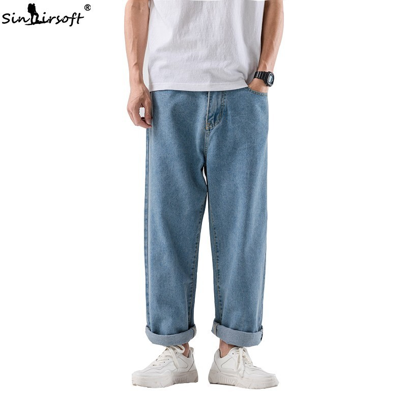 High Quality Denim Pure Daddy Pants Men Casual Streetwear Wide Leg Jeans Male Skateboard Ankle-Length Trousers Loose Summer New