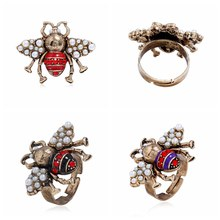 1PC Jewelry Vintage Bee Simulated Pearl Bee Ring For Women Unique Gift For Women Party Jewelry Bague Femme 3 Colors(China)