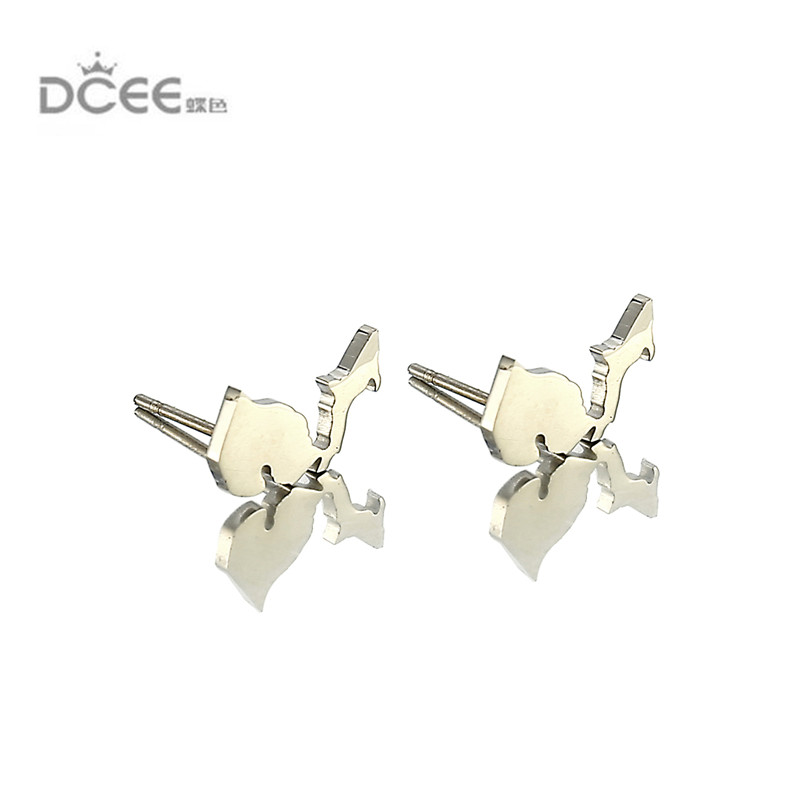 Stainless Steel USA Map Pendant earring stud 10mm 10mm Fashion Silver Michigan State Hollow Charm Collar