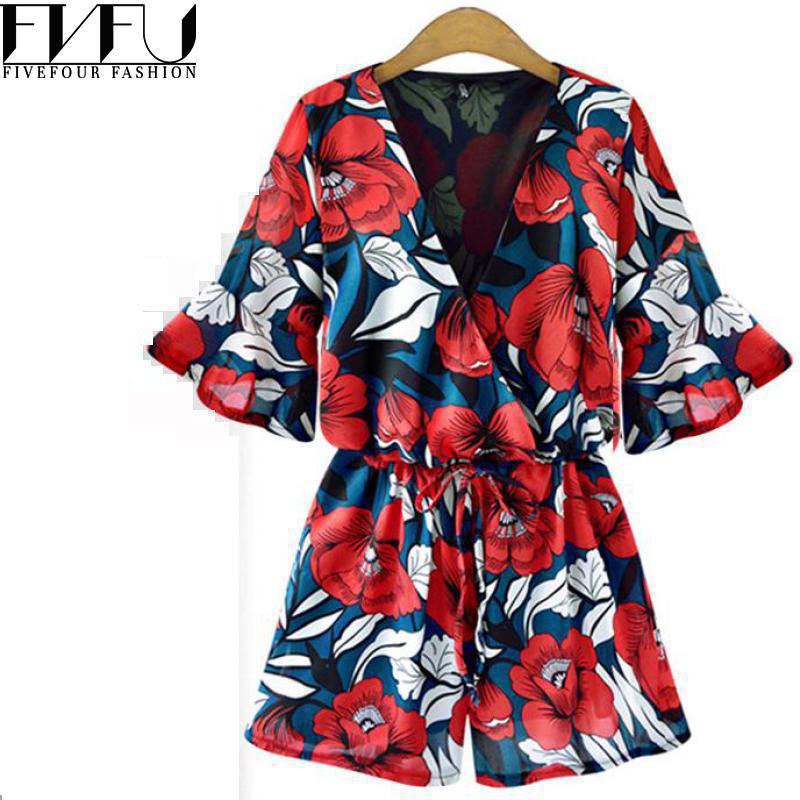 Fashion 2018 Rompers Womens Jumpsuit Oversized Floral Beach Jumpsuit Women Short Casual Loose Summer Jumpsuits Plus Size 5xl