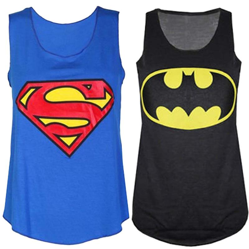 Tank-Top Superhero Spiderman/superman Women Sleeveless Digital-Print Sportlover Casual