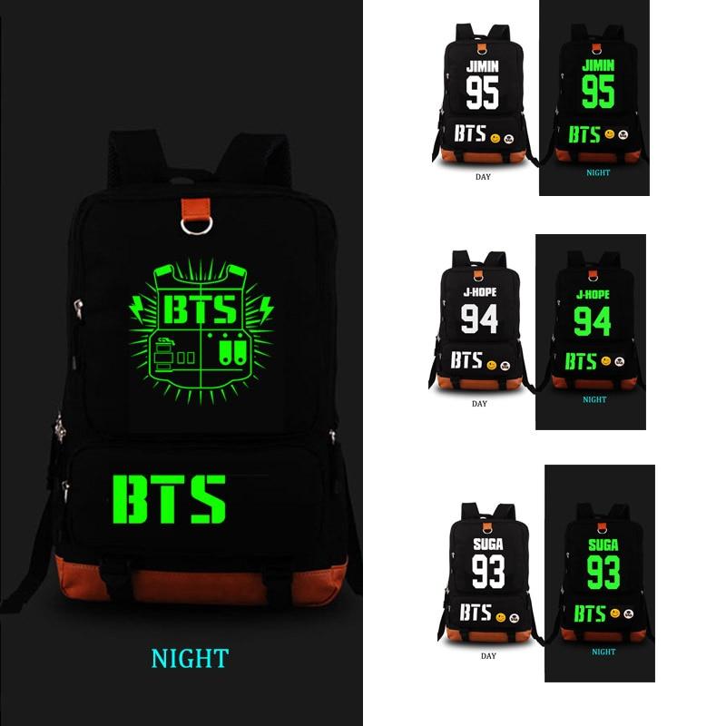 BTS Bangtan Boys school bag Noctilucent backpack student school bag Notebook backpack Leisure Daily backpack