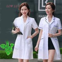 Long Sleeve Women Men White Medical Coat Nurse Services Uniform Medical Scrub Clothes White Lab Coat