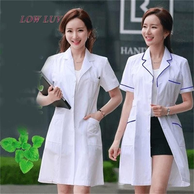 Long Sleeve Women/Men White Medical Coat Nurse Services Uniform Medical Scrub Clothes White Lab Coat HospitalClothes