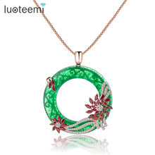 LUOTEEMI Sweater Necklace Luxury Rose Gold Color Flower Multi Cubic Zircon Big Green Circle Pendant Long