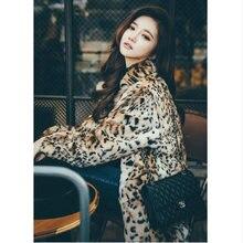 Зимние теплые женские леопардовые длинные s 6xl с воротником