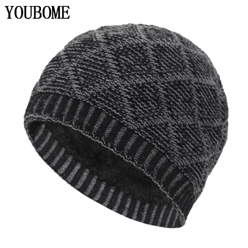 YOUBOME Fashion Skullies Beanies Men Winter Knitted Hats For Men Women Gorros Bonnet Soft Thick Warm Male Beanie Winter Hat Cap