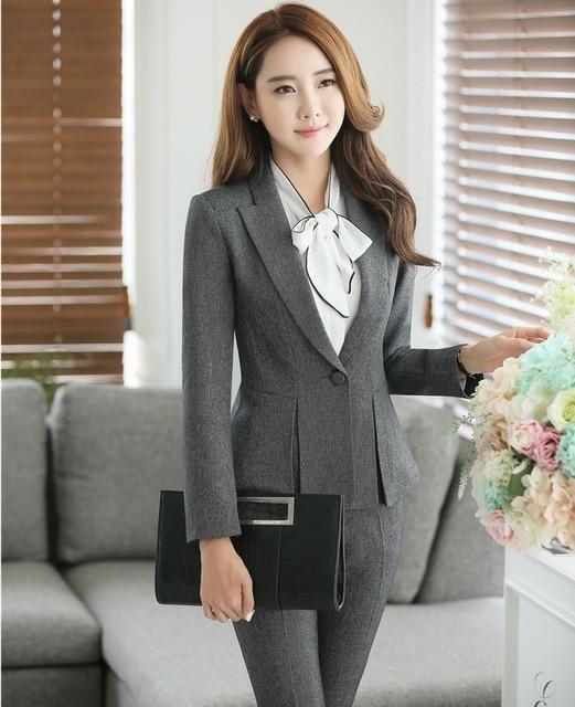 073b990a15e6 Plus tamaño 4XL gris elegante profesional trajes para Mujeres de Negocios  de trabajo Formal chaquetas y