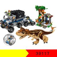 39117 596pcs Jurassic World Dinosaur Carnotaurus Gyrosphere Escape Building Blocks toy