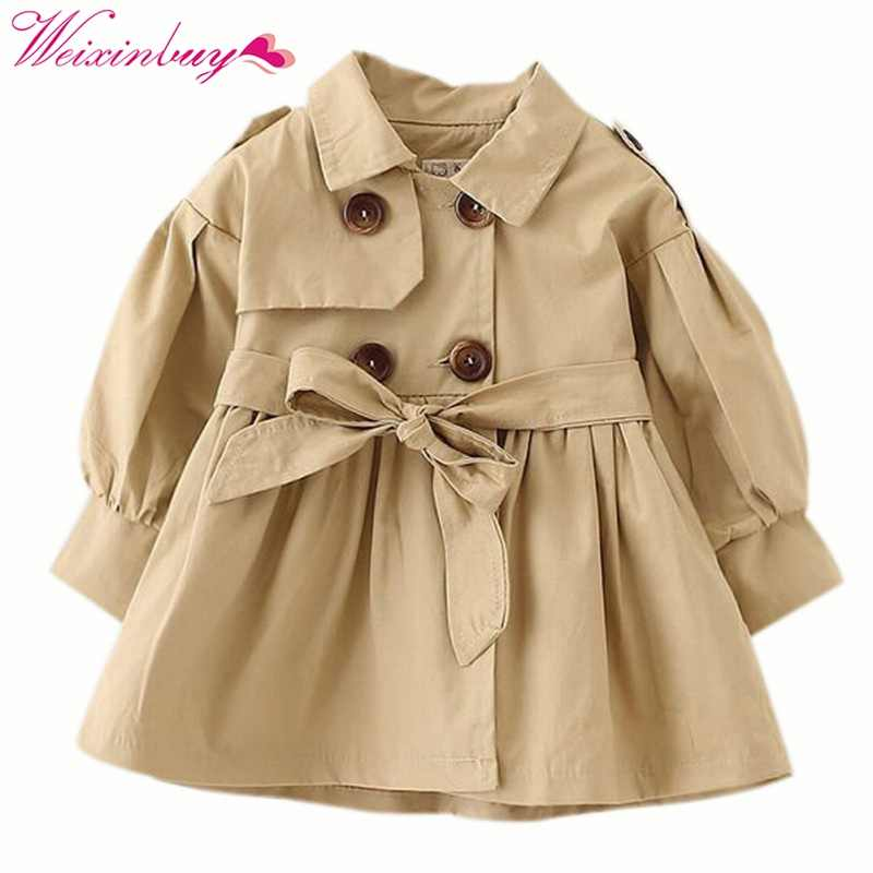 2-5Y Autumn Spring Baby Girl Trench Coat Long Jacket Double Breasted Kids Overcoat Children Windbreaker Outwear