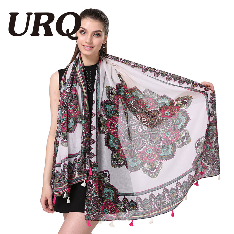 New Bohemian Style Long Cotton Scarf 2016 Woman Scarves With Tassel from India Flower Print Scarves Shawl Foulard V9A18589
