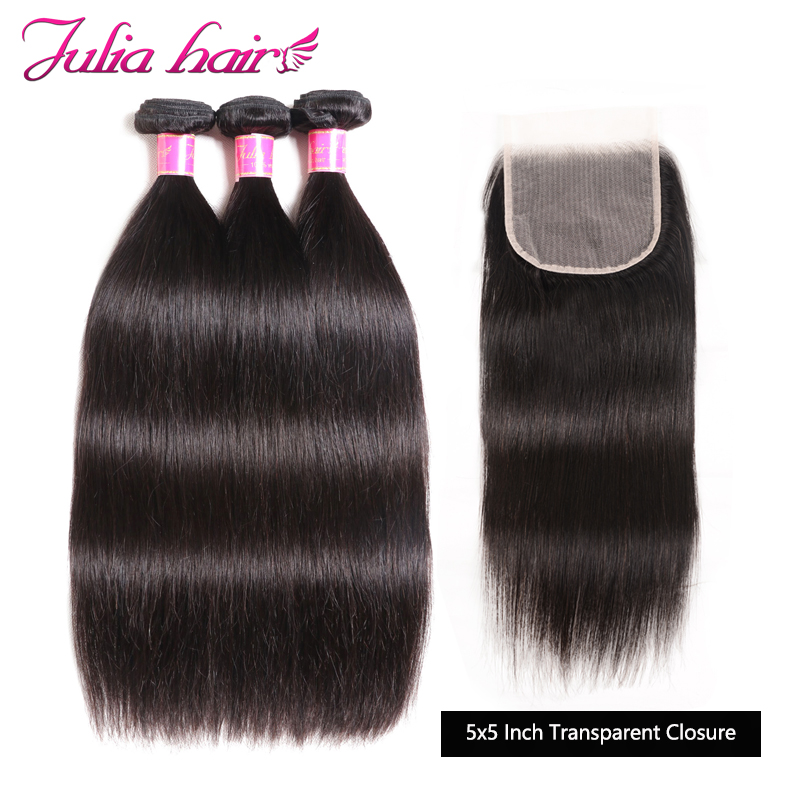 Ali Julia Hair Transparent Lace Closure With Bundles Brazilian Straight Human Hair 3 Or 4 Bundles With Closure  5*5 Inch Remy