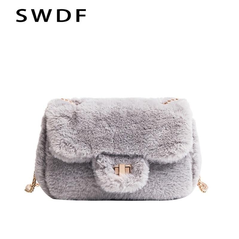 SWDF Women Faux Fur Messenger Bag Short Winter Small Girls Chains Flap  Crossbody Bags Feminina Plush Ladies Handbags Bolsas-in Shoulder Bags from  Luggage ... ff69496e0a765