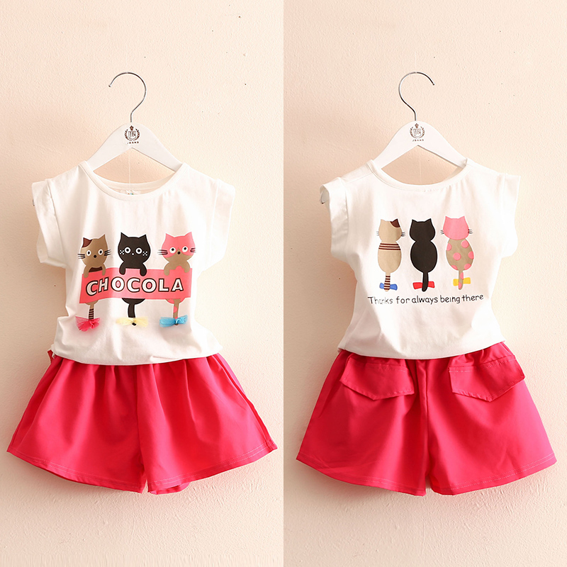 Girls Clothing Set 2018 Summer Fashion 3-10 Years Old Kids Little Girl Cartoon Cat Print T Shirt+Shorts 2 Piece Outfits Suit Set
