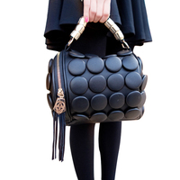 2017 Women S Handbags Boston Bags Ladies Tassel Button Messenger Bags Leather Shoulder Bags Designer Bucket