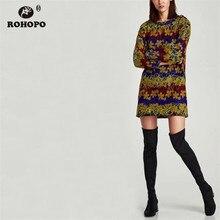 ROHOPO Autumn Vintage Printed Straight Mini Dress Long Sleeve Retro Pullover Vestido #XZ1882