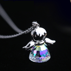 Joyashiny angel Pendant Crystal from Swarovski Maxi Necklace Collier Wholesale Fashion Jewelry Name Bead For women gifts