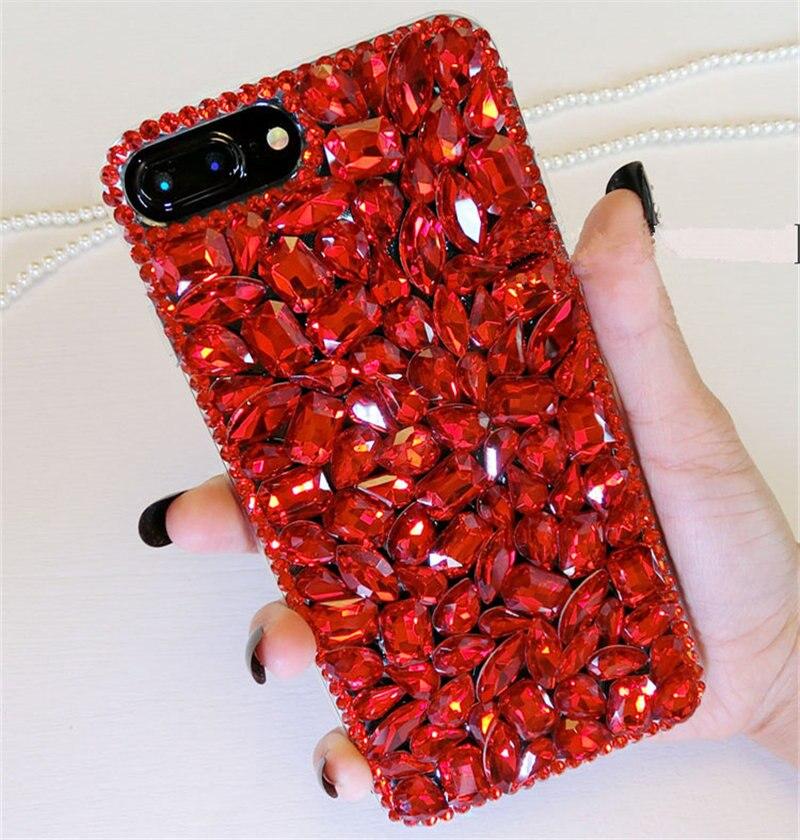 Para Huawei P8 P9 P10 Plus P20 Lite pro selfie P Smart Plus Glitter Bling Do Diamante Caixa Do Telefone Strass Vermelho TPU macio Tampa Traseira