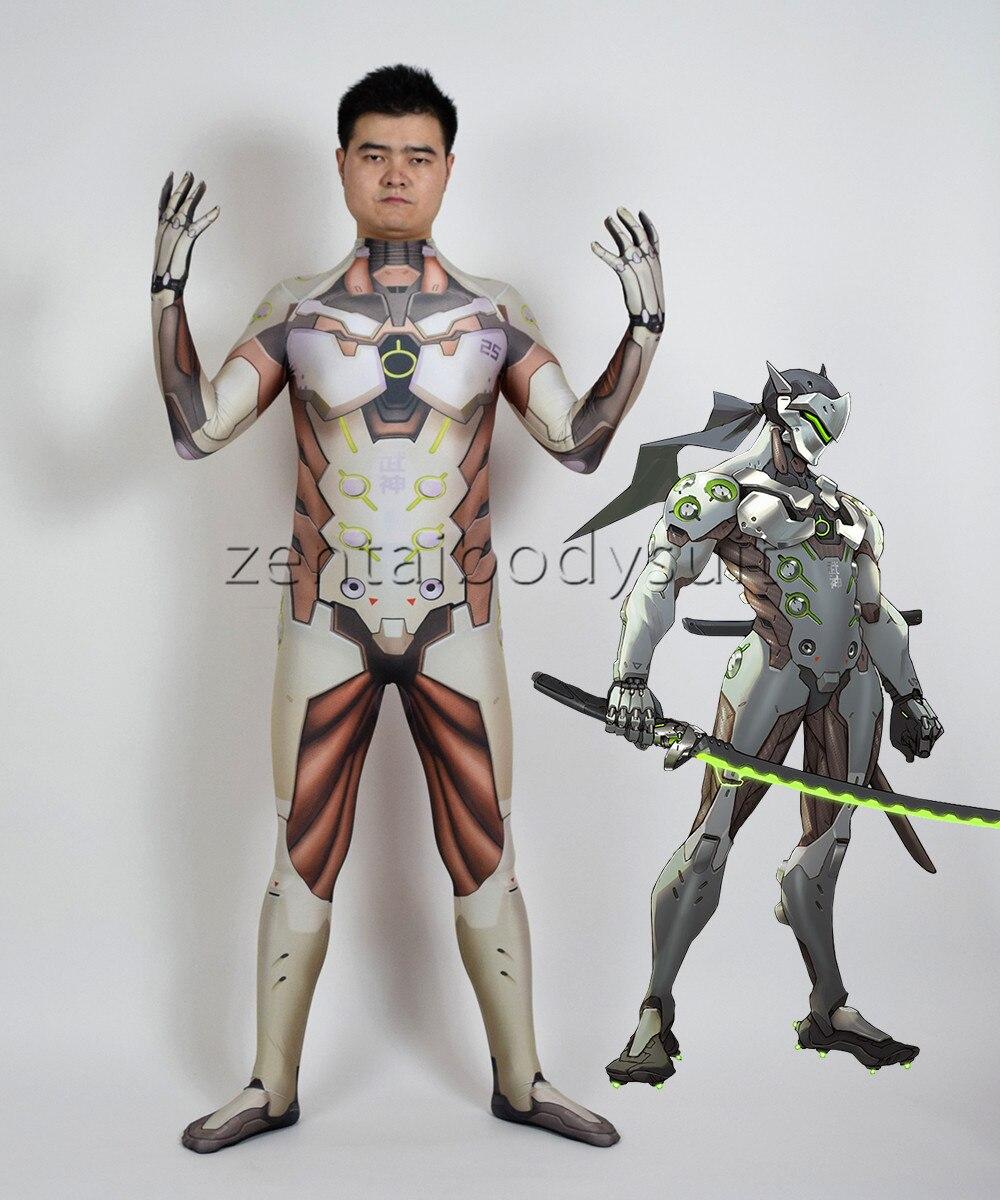 3D Printing Genji Cosplay Heroes Halloween Party Zentaibodysuit Costume Multi-size selection