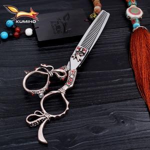 Image 3 - KUMIHO משלוח חינם שיער מספריים 6 אינץ ברבר מספריים ערכת סלון יופי מספריים עשוי יפן 440C נירוסטה
