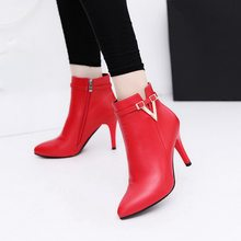 2019 Spring Autumn Stiletto Thin High Heels Pointed Toe Faux Leather Zipper Style Sexy Martin Boots Ankle Womens Boots(China)
