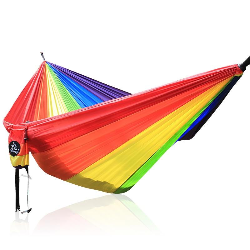Rainbow Hammock Nylon Parachute Fabric 2 Person Hammock aotu at6716 parachute nylon fabric double hammock neon green