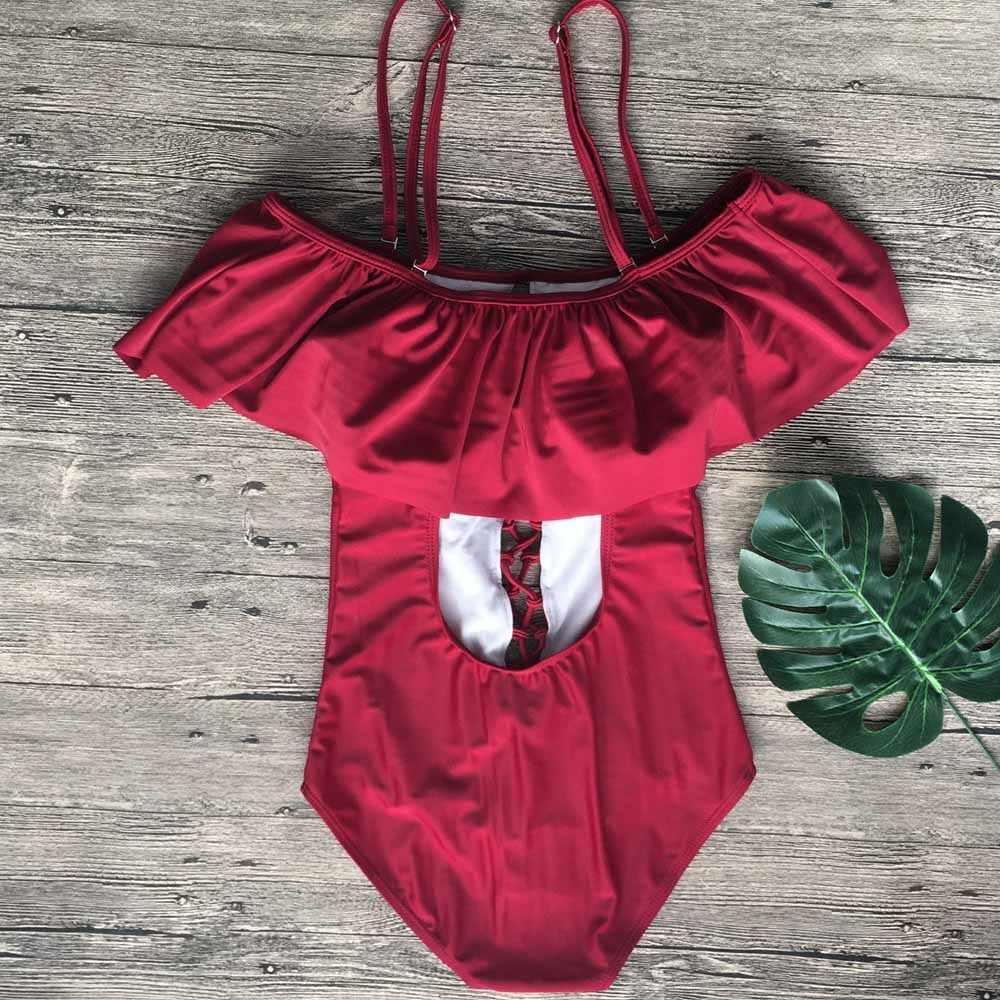 Pakaian Renang untuk Wanita 2019 Seksi Satu-Piece Push Up Baju Renang Solid Tali Baju Renang Ruffle Pakaian Seksi pakaian Renang