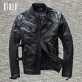 Black genuine leather jacket coat men 100% cowskin motorcycle jackets winter warm liner decor veste cuir homme cappotto LT972