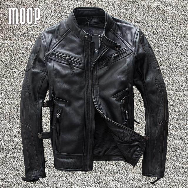 Negro de cuero genuino capa de la chaqueta de los hombres 100% piel de vaca de la motocicleta chaquetas de invierno cálido forro decoración veste cuir homme cappotto LT972