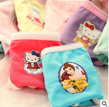 3pcs /lot  Girls Cartoon Briefs Cute Kids Underwears Children Cotton Short Pants Kids Panties 2-10 Years