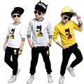 Conjunto de roupas menino 2016 novos Coreano maré meninos casuais longo-sleeved camisola dos desenhos animados crianças treino primavera e outono dois-peça