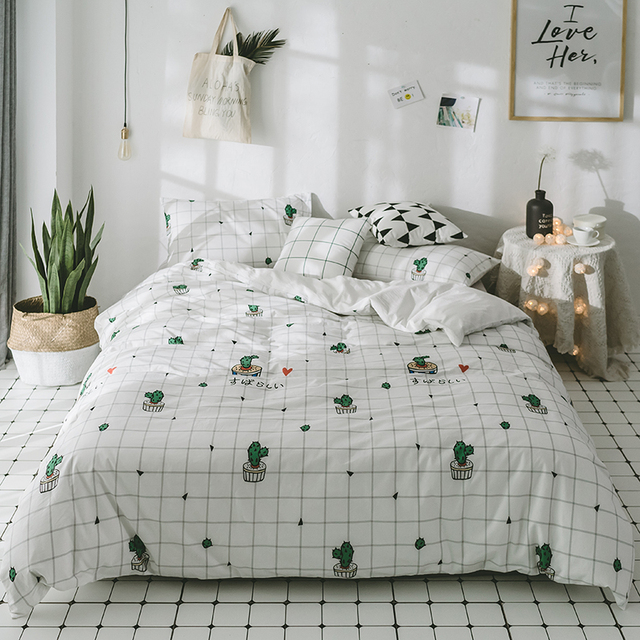 washed cotton reactive printing cactus strawberry cherry bedding sets bed sheet queen king size 4pcs - Cactus Bedding