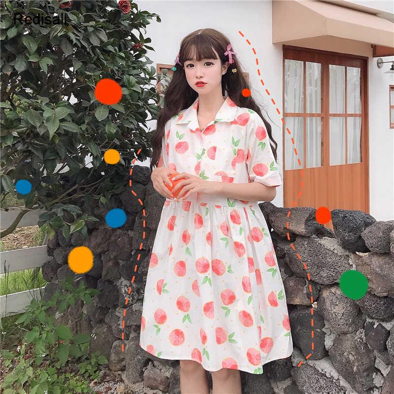 Фруктовое платье милые рубашки воротник юбка грейпфрут лимон Лолита для девочек женское повседневное летнее платье